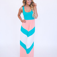 Teal/Peach Chevron Tank Maxi