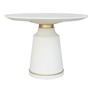Modrest Ariana Modern White Concrete & Brass Coffee Table