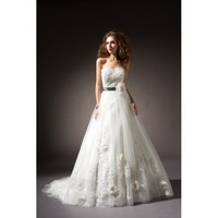 A-line floor-length court train Lace wedding dress - Star Bridal Apparel