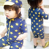 One Piece Bathing Suit USEEMALL Kids Swimwear  Swimming Suit for Children Boys Girls Swimsuit Cute Bathing Suits with Swim Cap Quick Drying KO_9_1