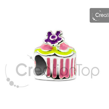 Charm for any Pandora bracelet european birthday cake shape bead with flower