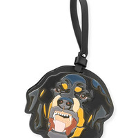 Givenchy Mens Leather Rottweiler Charm for Bag or Briefcase, Black