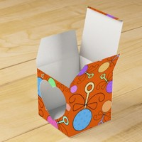Cute orange baby rattle pattern party favor boxes