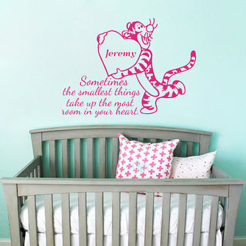 Winnie the Pooh Quote Wall Decal Custom Personalized Name Decor Tigger Vinyl Decal Kids Teens Room Name Wall Decal Nursery T231