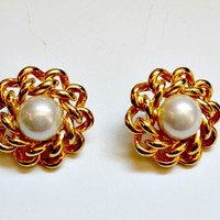 vintage gold and pearl floral cluster bridal earrings~antique retro bridal pearl and gold cluster earrings sale
