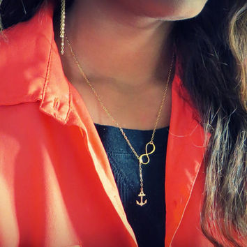 Little Gold Anchor and Infinity Lariat Necklace