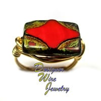DWJ0276 Czech Glass Pink Silk Picasso Gold Wire Wrap Ring All Sizes