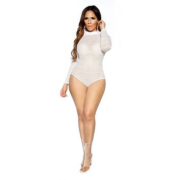 Off White Long Sleeve Smock Neck Sheer Mesh Bodysuit