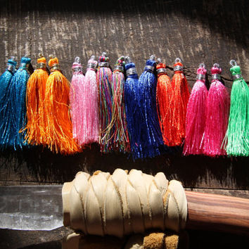 "Party Time / Silk Tassels from India / Neon Bright Jewelry Making Tassels, Craft Supplies / Boho Tassels / 2"", 16 tassels /Pink, Blue, Green"