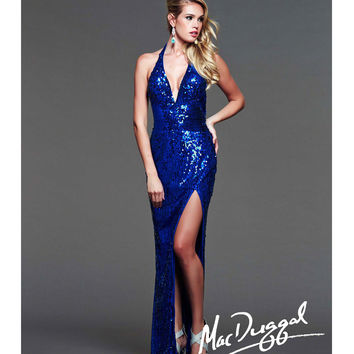 Mac Duggal 2014 Prom Dresses - Royal Sequin Halter & Low Back Prom Gown