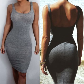 Women Gray Color Summer Simple Dress Spaghetti Strap Bandage Dress Bodycon Sexy Club Dress 2016 Rayon Sheath Party Dresses
