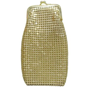 Women's 120's Cigarette Case Gold Mesh Retro Twist Clasp, Eyeglass Holder, Large Change Purse