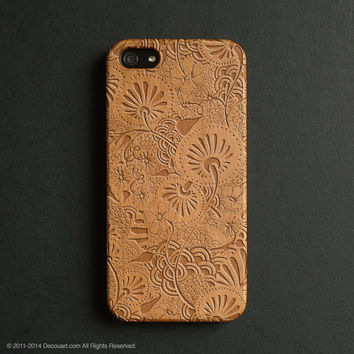 Real wood engraved floral pattern iPhone case S044
