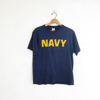20% OFF SALE Vintage dark blue Grunge shirt. United States Navy tee shirt