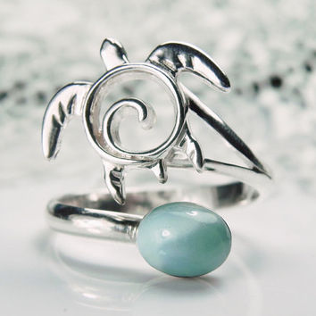 Sea Turtle Ring - Larimar Turtle Ring - Asjustable Ring - Unique Turtle Jewelry - Blue Larimar Ring - Sea Life Nautical Ocean