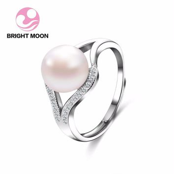 Classic design real 925 sterling silver ring 8-9mm natural freshwater pearl rings, pearl rings for women romantic wedding gifts