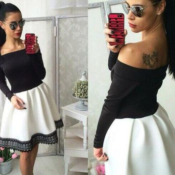 2017 autumn new long sleeved lace patchwork fashion women dress sexy Off shoulder strapless Slash neck tunic dresses plus size