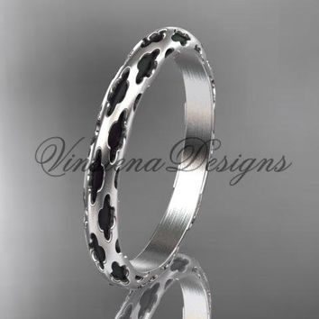 14kt white gold stackable, stacking ring, wedding band, midi ring, black enamel WB120018
