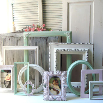 Mint and Pink Nursery Frame Set, Antique White, Baby Pink and Mint Green Vintage Open Frame Gallery, Cottage Chic Ornate Frames and Mirror