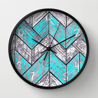 SHORELINE CHEVRONS (1 of 3) Wall Clock by John Medbury (LAZY J Studios)