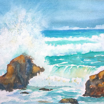 Original Watercolor Seascape painting, Ocean Waves, 11x14, Beach theme, Nautical art, Rocky Seashore, stormy water