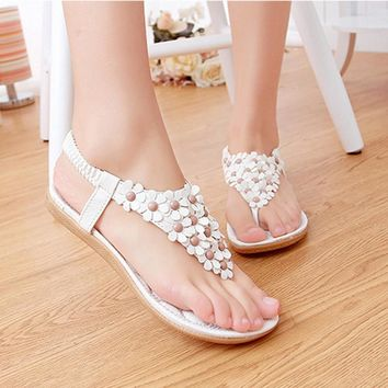 Summer Gladiator Sandals Woman Shoes Bohemia Thong Flat Flower Flip Flops Sandals Flats Sandalias Ladies Zapatos Mujer