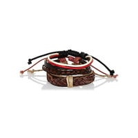 River Island MensBrown woven leather bracelet pack