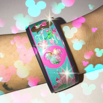Tiffany Blue Glitter & 1st Impressions Lilly Pulitzer Magic Band Set