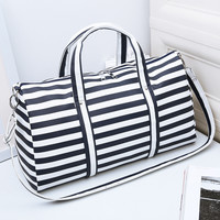 2017 Women Travel Bags Men & Lady Striped Tote Shoulder Travel Bag Portable Men Handbags Weekend Bag Women Waterproof Duffle Bag