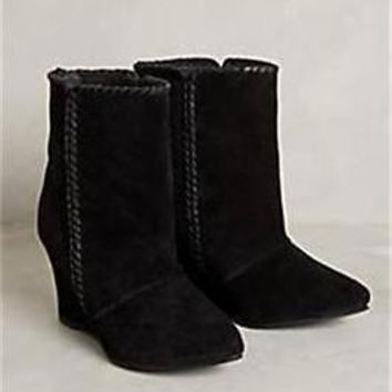 NIB Anthropologie Charles by Charles David Whipstitch Wedge Booties