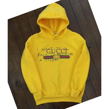 GUCCI Graffiti Letters Fashion Hooded Top Pullover Sweater Sweatshirt Hoodie