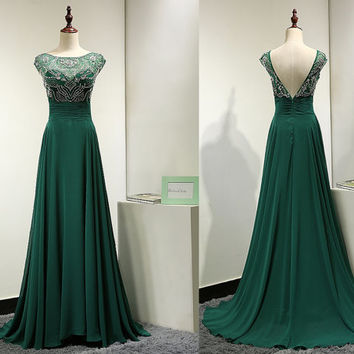 Emerald Green Chiffon Backless Evening Dress Sparkly Beaded Open Back Prom Dress Cap Sleeve Long Formal Party Gown