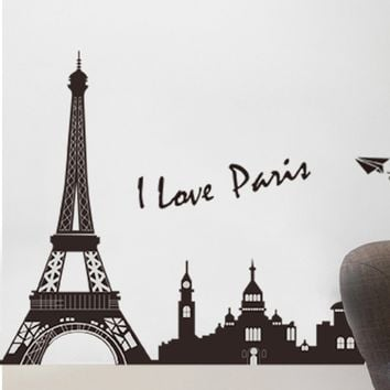 30*60 CM PVC Eiffel Tower Wall Hangings Living Room Bedroom Background Decoration Wall Stickers Home Decor Room Decor