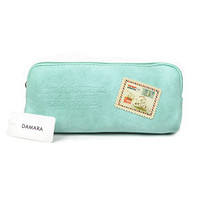 Damara Canvas Students Long Stamps Pattern Pencil Case,Light Green