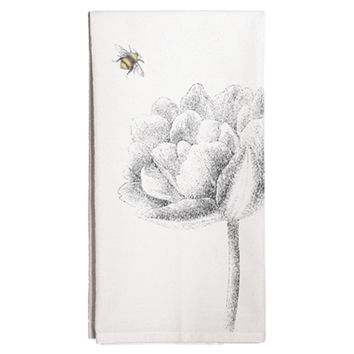 Flower & Bee Tea Towels, Set of 3, Tea towels & Dishtowels