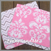 Personalized Girl Burp Cloths ~ Pink and Grey Burp Cloths ~ Grey Chevron Burp Cloths ~ Set of 2 ~ Baby Shower Gift ~ Ready to Ship!