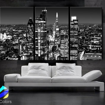 """LARGE 30""""x 60"""" 3 Panels Art Canvas Print beautiful London Skyline lights night Black & White Wall Home (Included framed 1.5"""" depth)"""