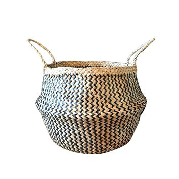 Large Black Natural Storage Basket Seagrass Belly Zig Zag Straw Planter Laundry Basket
