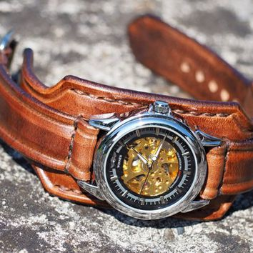 Leather Watch Cuff, Leather Wrist Watch, Steampunk Watch, Men's leather watch, Bracelet Watch, Handmade Men Bracelet Watch
