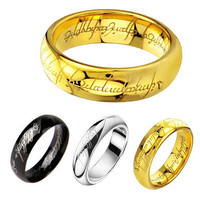 316L Stainless Steel Lord of the Rings Men Punk Ring and Necklace Couple Style Size 6-13 GQ001(6mm) = 5987687553