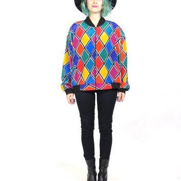 80s 90s Bomber Jacket  Colorful Abstract Print bomber Jacket Rainbow Geometric Diamonds Harlequin Slouchy Unisex Hip Hop Windbreaker (M/L)