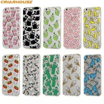 For iPhone 8 7 6 6s Plus 3D Eyes Moving Eyes Cartoon Series phone case clear Soft Silicone Protective Shell back cover