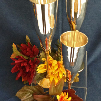 4 Champagne Flutes, Stainless and Brass Flutes, Toasting Champagne Flutes