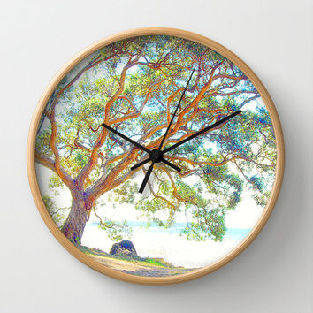 Tree photo clock, summer time photo wall clock, home decor, wall art, foliage nature print