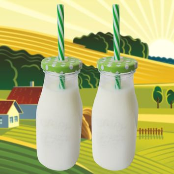 Reusable Milk Glass Bottle with Green Metal Lid and Straw Clear 11oz Glassware for Drinking Beverages at Home Parties Picnics Set of 2