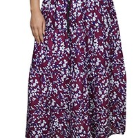 Mogul Interior Womens Peasant Skirt Floral Flaunting Summer Gypsy Tiered Flare Long Maxi Skirts L