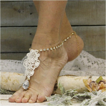 FOREVER LACE Ivory barefoot sandals