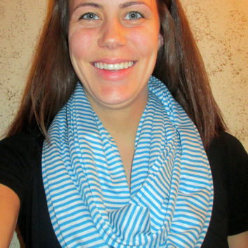 Blue & White Striped, Jersey, Homemade, Infinity Scarf.