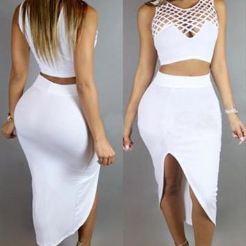 White Irregular Hollow-out Side Slit Two Piece Sleeveless Maxi Dress