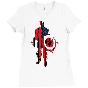 captain america flag abstract Ladies Fitted T-Shirt